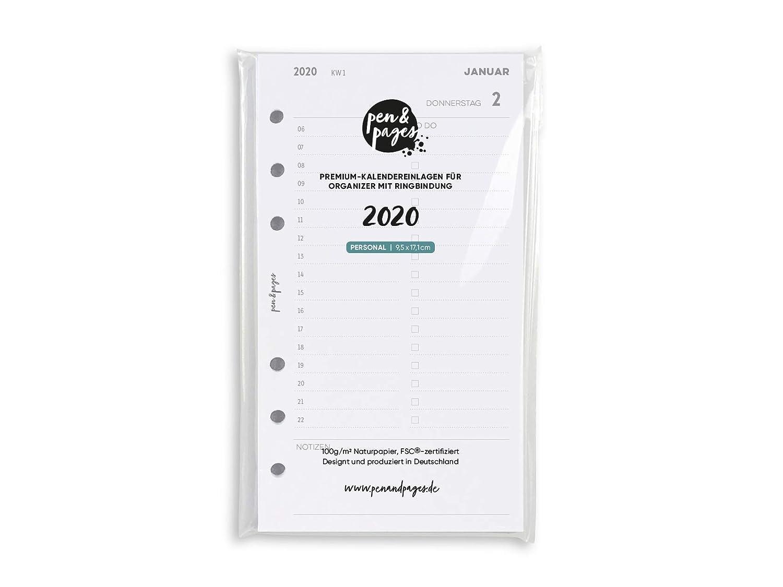 Personal 6 L/öcher 9,5 x 17,1 cm Tagesplan 1 Tag auf 1 Seite Januar bis Dezember Daily Schedule Zeitplan Personal A6 Organizer pen /& pages/® 2020 Kalender