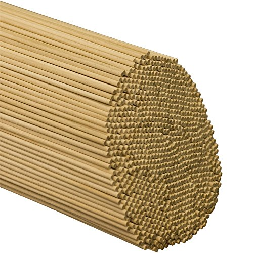 1/8 Inch x 12 Inch Wooden Dowel Rods - Pack of 100 Unfinished Hardwood Dowels For Crafts & Woodworking- By Woodpeckers