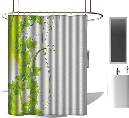 TimBeve Cortina de Ducha Resistente al Moho, diseño de Flores florecientes, diseño de jardín botánico Abstracto, Verde Manzana, Blanco, para duchas de baño, Puestos y bañeras, 72 x 78 Pulgadas: Amazon.es: Hogar