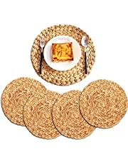 ZKZNsmart Set of 4 Oversized Round Woven placemat, Water Hyacinth Woven placemat, Heat-Resistant Non-Slip Woven Handmade placemat (11.8 in)