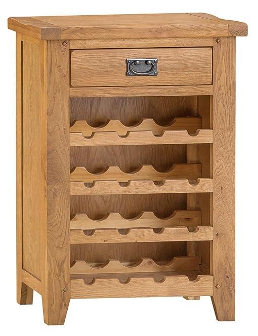 Staffordshire Rustic Oak Wine Cabinet: Amazon.co.uk: Kitchen & Home