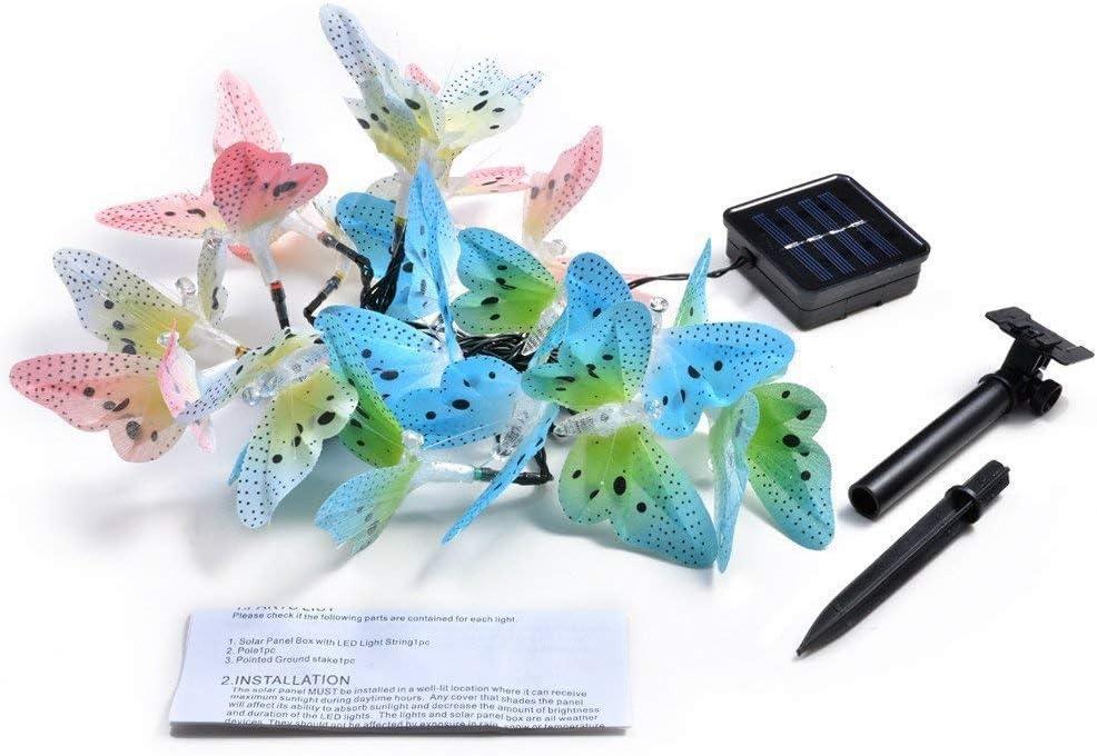 Luci da stringa a forma di farfalla Luci da giardino a luce solare Illuminazione da giardino impermeabile per interni ed esterni 12 LED SOOTOP
