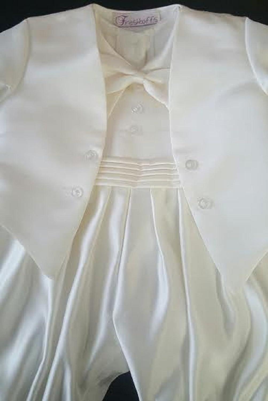 Freshbaffs Baby Boys White Cream Bow Tie Front Button Christening Romper Suit (0-3months, White) Freshbaffs®