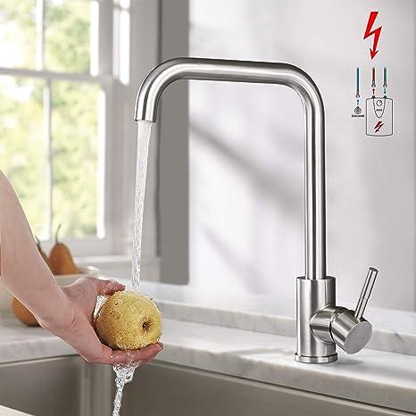 Wasserhahn Küche 360° Drehbar Küchenarmatur Spültischarmatur Gebürstetes Nickel