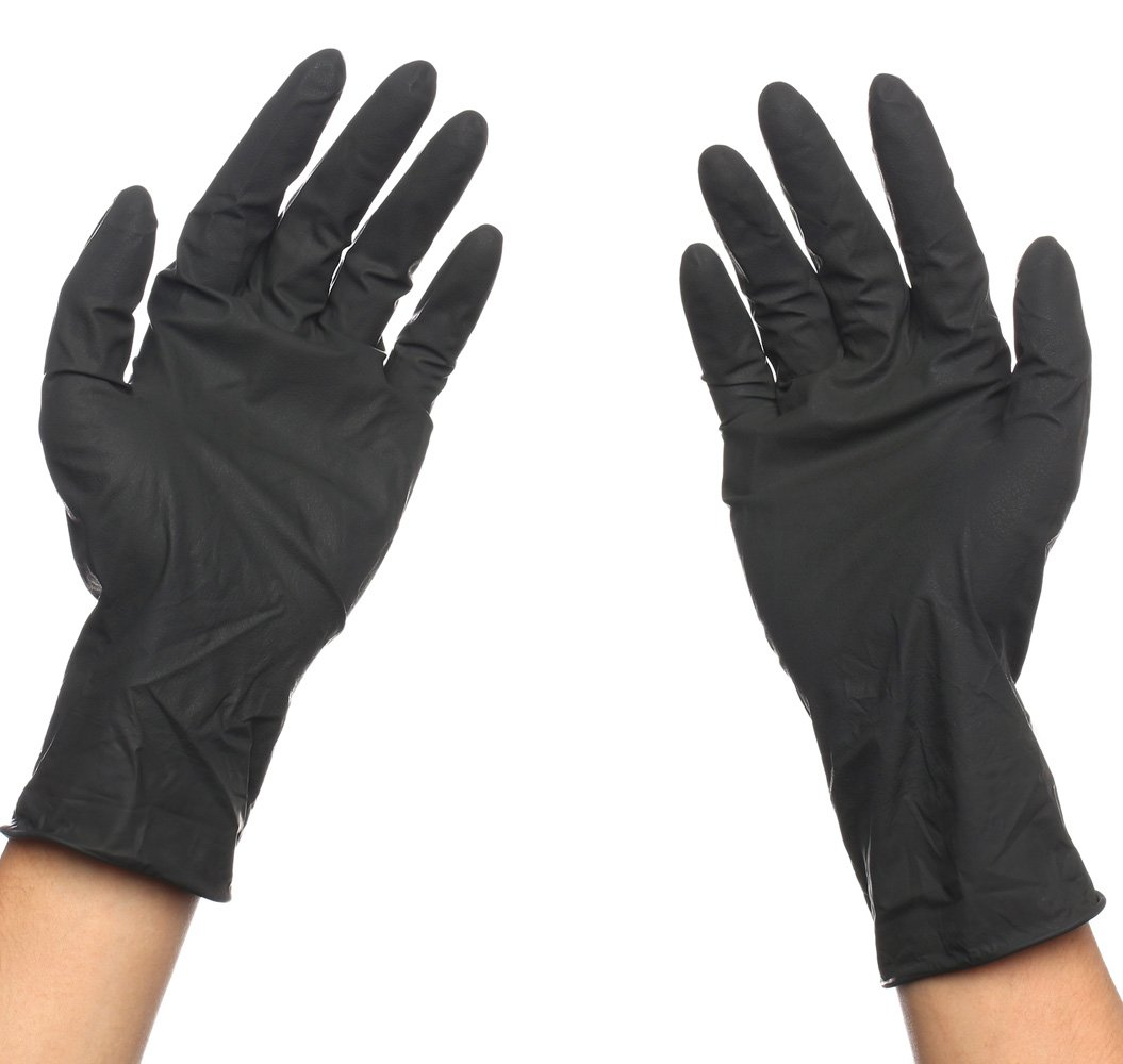 Black Reusable Latex Gloves, Salon Hair Color Dye Gloves-Medium size (Pack of 10) by Perfehair (Image #4)