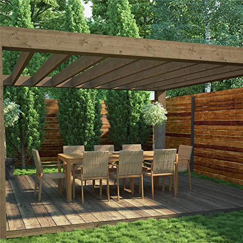 COSCO Outdoor Patio Dining Set, Patio Chair and Patio Table, 9 Piece, Aluminum, Tan