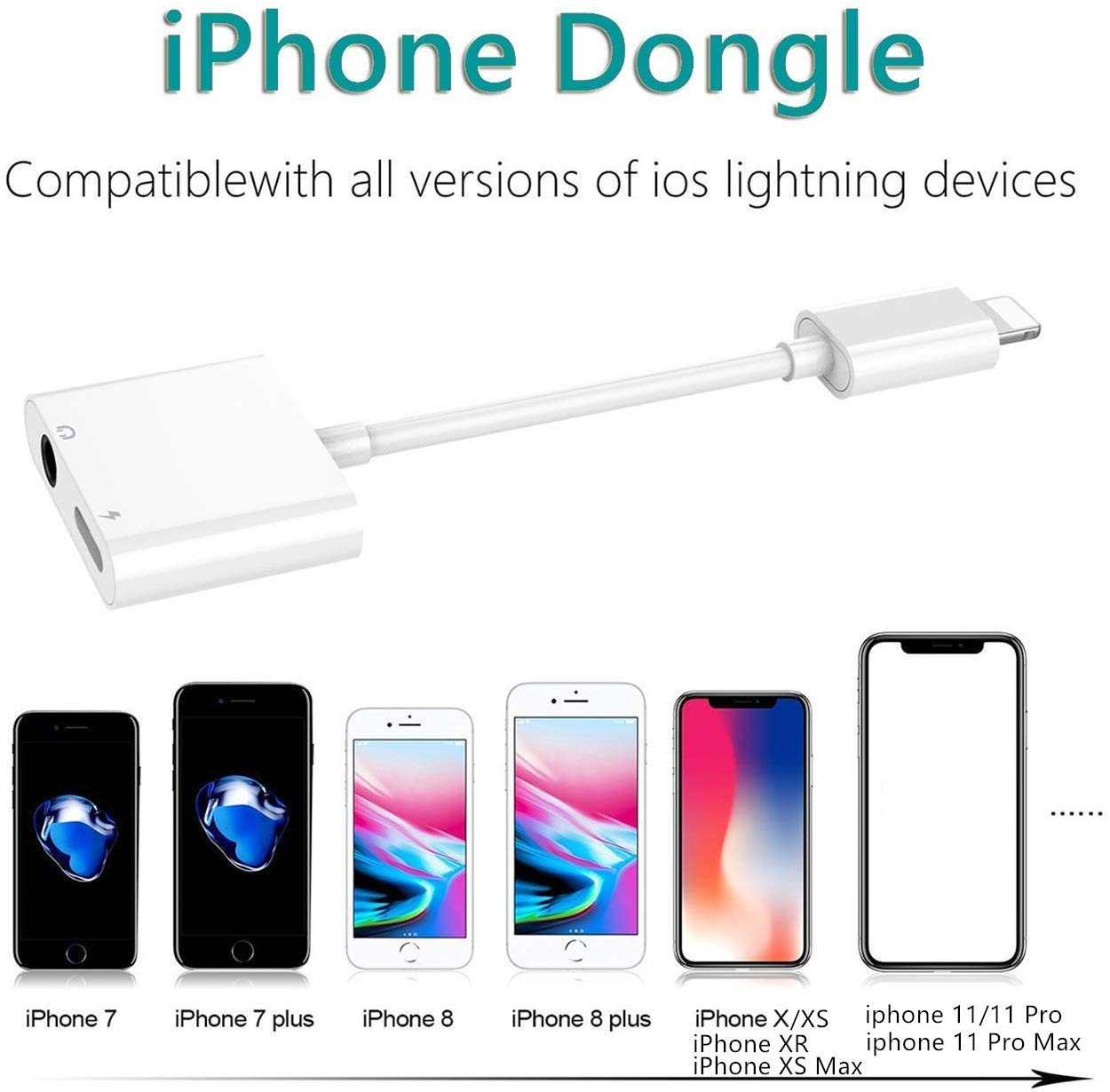 Adaptador de Auriculares para iPhone 11 Adaptador Conector de Auriculares 3.5 mm Jack Dongle Adaptador de Audio para iPhone 11//11Pro//XS//XR//X//8//8Plus//7//7Plus Audio Accesorios Soporta Todos iOS-Blanco