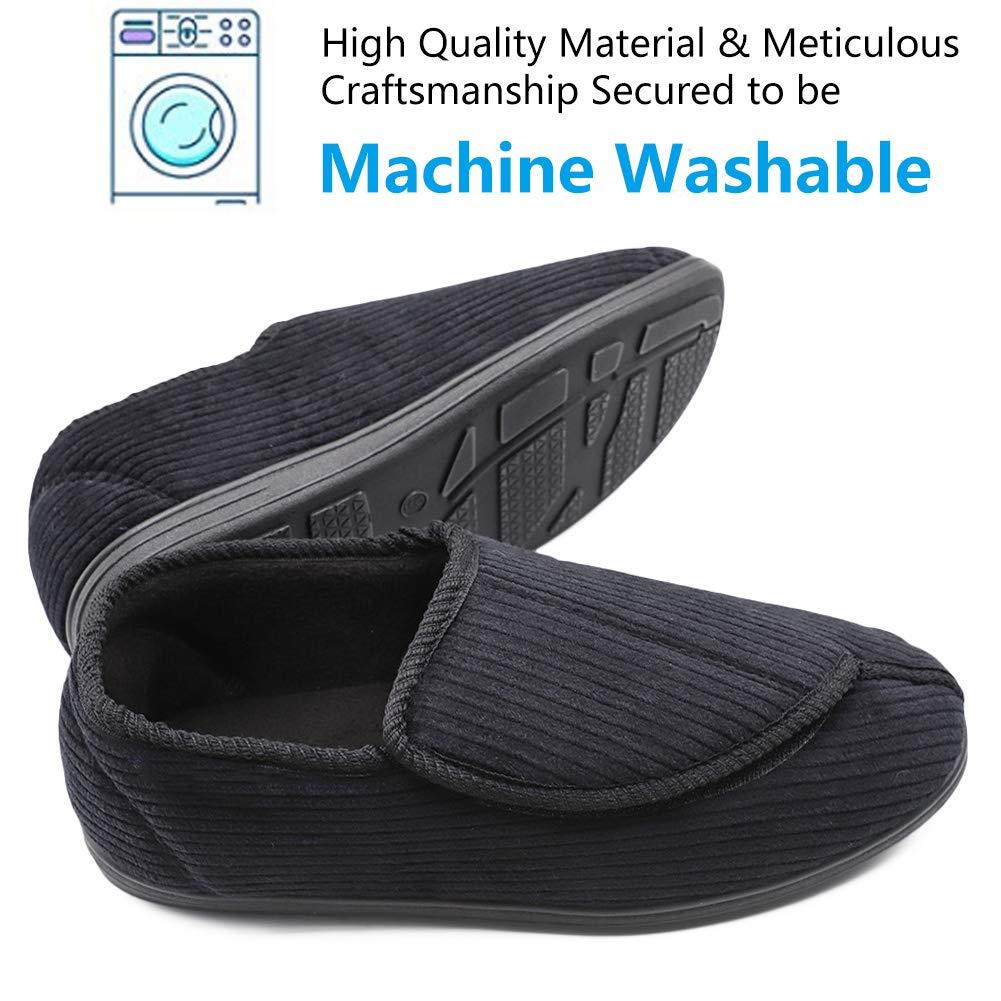 0121a0170b1e6 BIZAR Men's Memory Foam Slippers for Diabetic, Soft Wide Width House Shoes  with Plush Fleece Arthritis Edema Swollen Feet Indoor/Outdoor