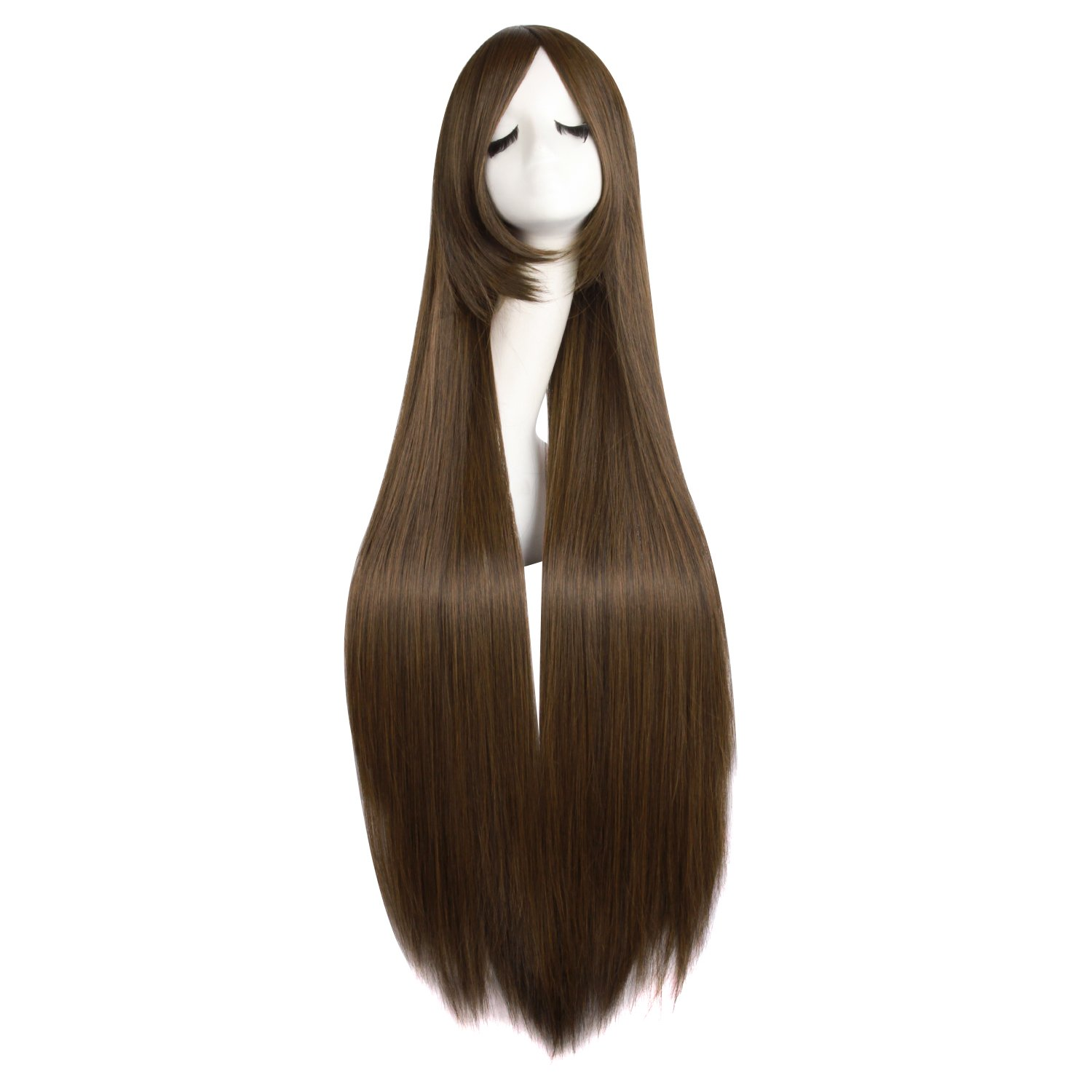 MapofBeauty 40 Inch/100cm Oblique Bangs Anime Costume Long Straight Cosplay Wig Party Wig (Blood Red)