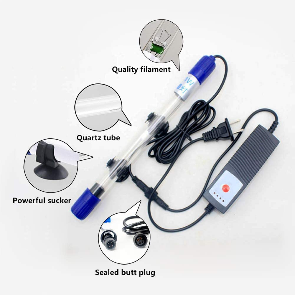 MQUPIN Submersible UV Light UV Sterilizer Light for Aquarium Fish Tank 5W-13W Water Cleanr US Plug/with Timing Function 7W