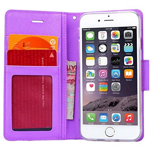 WE LOVE CASE Funda iPhone 6 Plus, Piel y Tipo Cartera Carcasa Funda iPhone 6S Plus con Tapa Flip Wallet caso de Cuero Billetera Original, Oficial Funda Que Se Pega con Ranura Para Tarjeta Card Holder  Púrpura