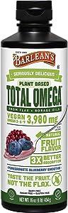Barlean's Organic Oils Total Omega Swirl Vegan Flax/Borage Pomegranate Blueberry, 16-Ounce Bottle