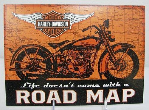 Hallmark Harley Davidson Collection 1DAV1407 Road Map Tin Plaque - Hallmark Harley Davidson