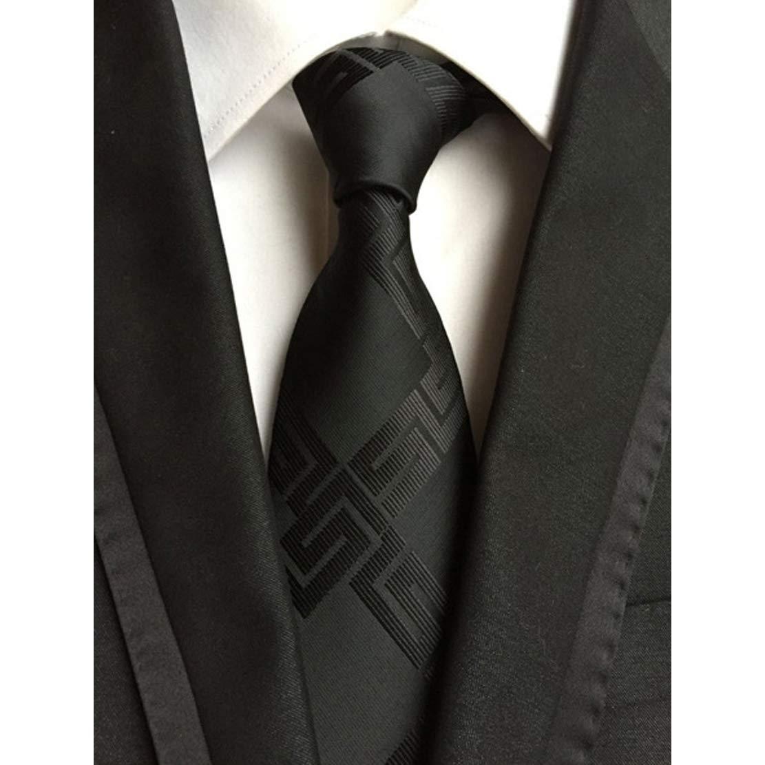 HIOD Traje de Corbata para Hombres Corbata Negra de Seda para ...
