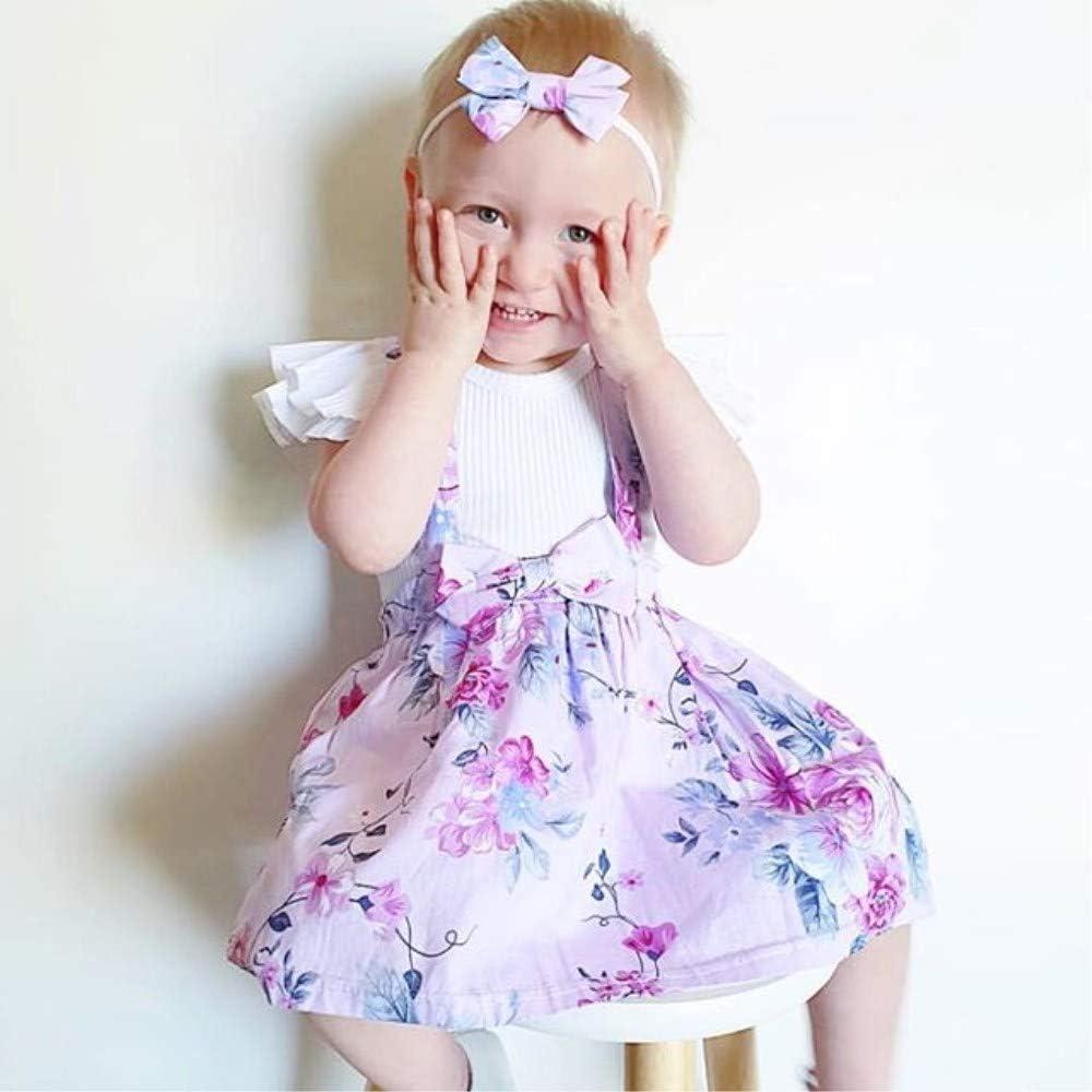 Bow Flower Skirt Baby Girls Floral Skirt Sets Ruffles Short Sleeve Shirt Headband Suspender Outfits