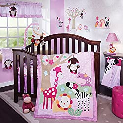Lambs & Ivy Jelly Bean Jungle Girl's 4 Piece Bedding Set