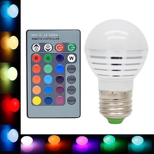 E27, RGB-Bombilla LED con variación de colores 16-Lámpara LED 3 w
