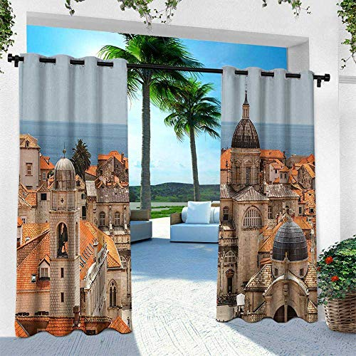 Hengshu European, Fashions Drape,Aerial View on The Old City of Dubrovnik Walls Medieval Croatia European Decor, W120 x L84 Inch, Multicolor -