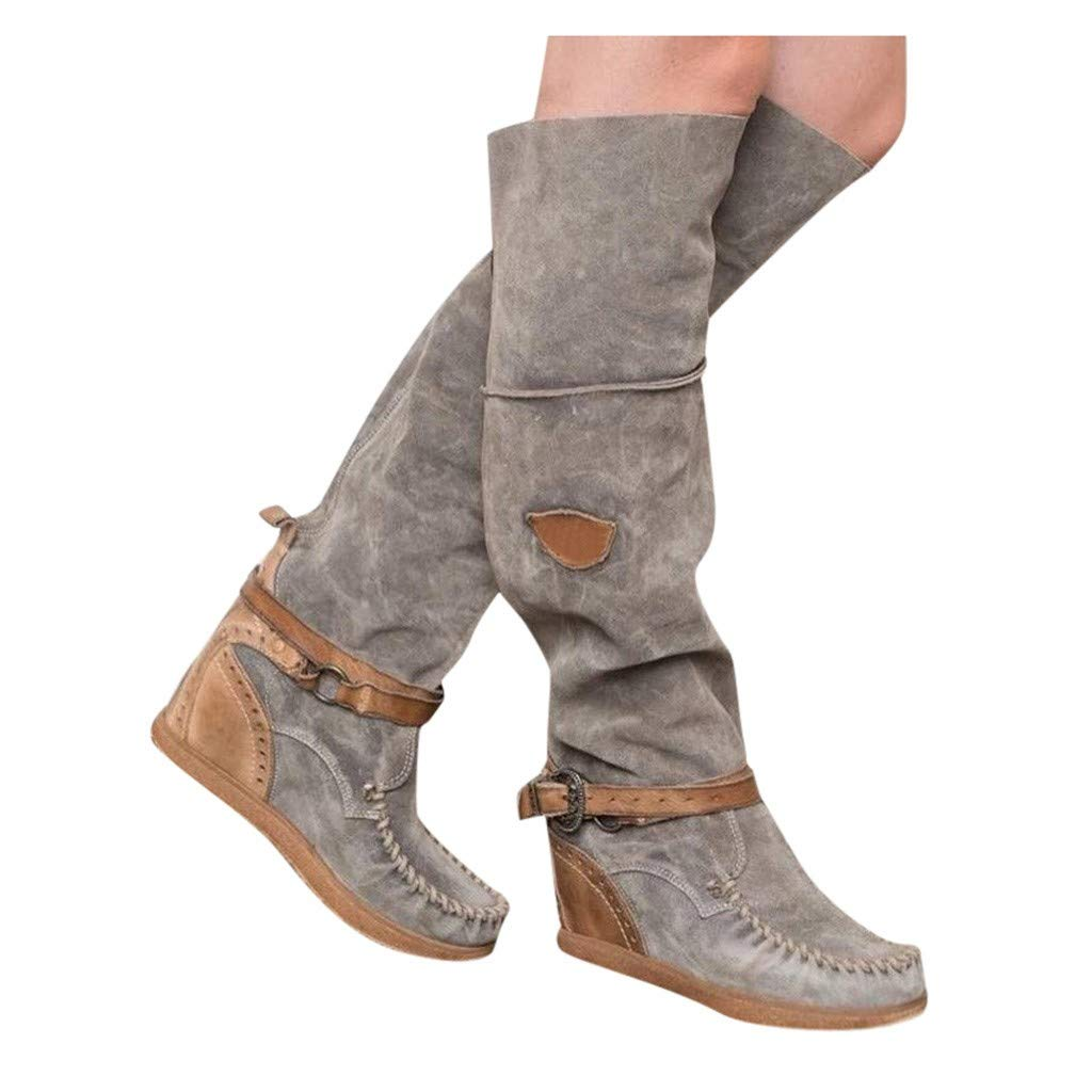 Fainosmny Women's Ladies Knee High Boot Flat Heel Zipper Buckle Riding Boots Retro Wedges Long Boots Booties Shoes Gray by Fainosmny