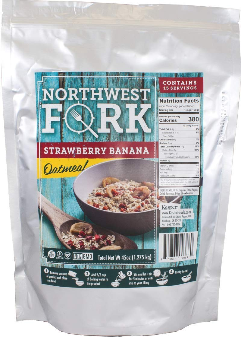 NorthWest Fork Strawberry Banana Oatmeal (Gluten-Free, Non-GMO, Kosher, Vegan) 15 Serving Bag - 10+ Year Shelf Life