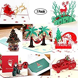 3D Christmas Cards Pop Up Greeting Holiday Cards Gifts Handmade 7 Pack Cards & Envelopes (Advanced version)