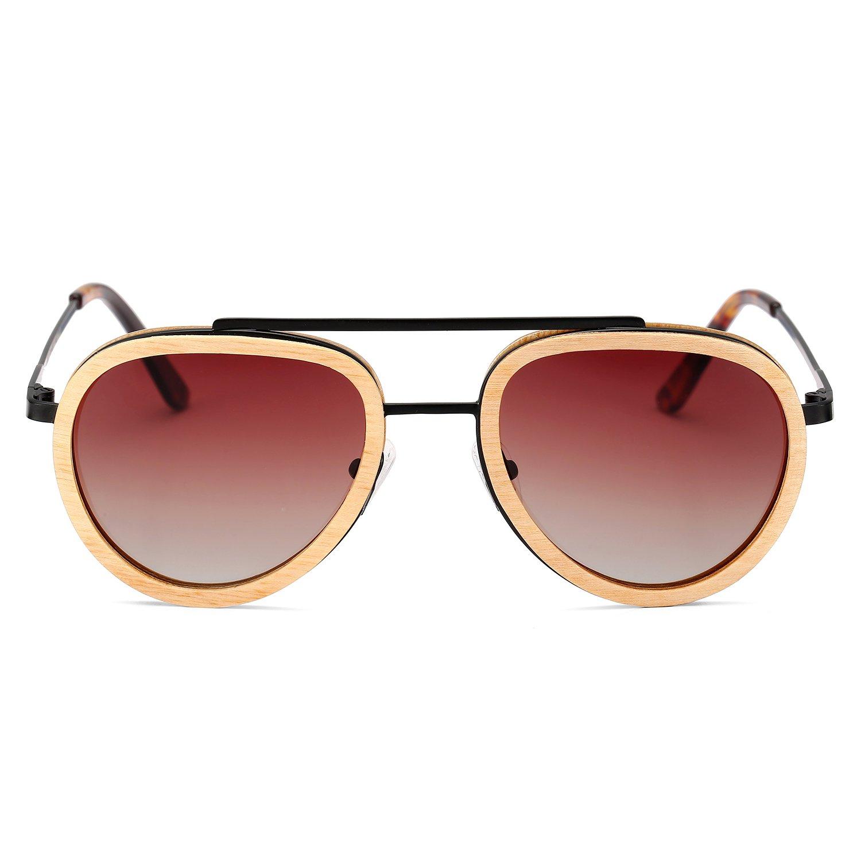 92f449e0f2c Amazon.com  Aviator Sunglasses Wood Polarized for Men and Women ...