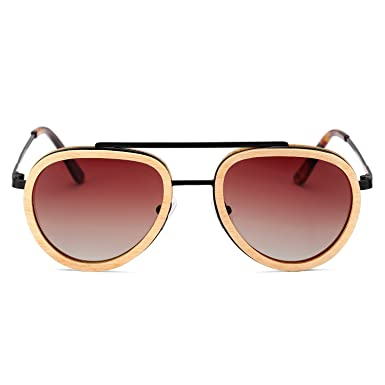 ae01aee2d5 Amazon.com  Aviator Sunglasses Wood Polarized for Men and Women ...