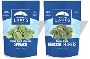 Thousand Lakes Freeze Dried Fruits and Vegetables - Broccoli Florets & Spinach 2-pack   100% Veggies   No Salt Added