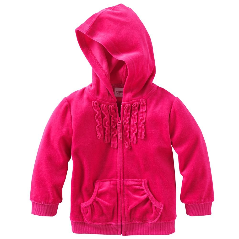Infant style Ruffled Velour Hoodie 12 Months, Dark Pink SONOMA life