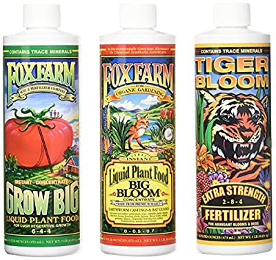Fox Farm Liquid Nutrient Trio Soil Formula: Big Bloom, Grow Big, Tiger Bloom (Pack of 3)
