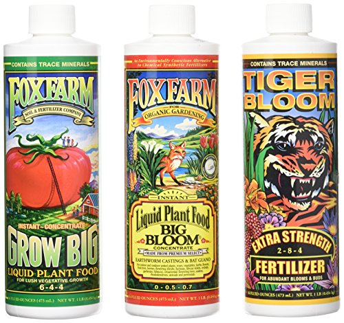 Fox Farm Liquid Nutrient Trio Soil Formula - Big Bloom, Grow Big, Tiger Bloom Pint Size (Pack of -