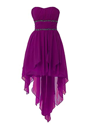 YiYaDawn Asymmetric Short Evening Prom Dress for Women Size 20 UK Purple