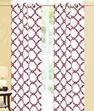 Red and White Curtains Ace 21 Geometric Modern Print Insulated 100% Thermal Blackout Window Grommet Curtain Panel (108