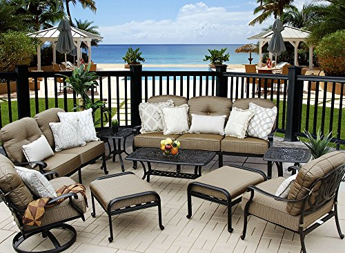 Heritage Outdoor Living Cast Aluminum Elisabeth Outdoor Patio 9pc Deep Seating Set - Includes (2) Ottoman, (2) End Tables, (1) Sofa, (1) Loveseat, (1) Club Chair, (1) Swivel Rocker Club, -