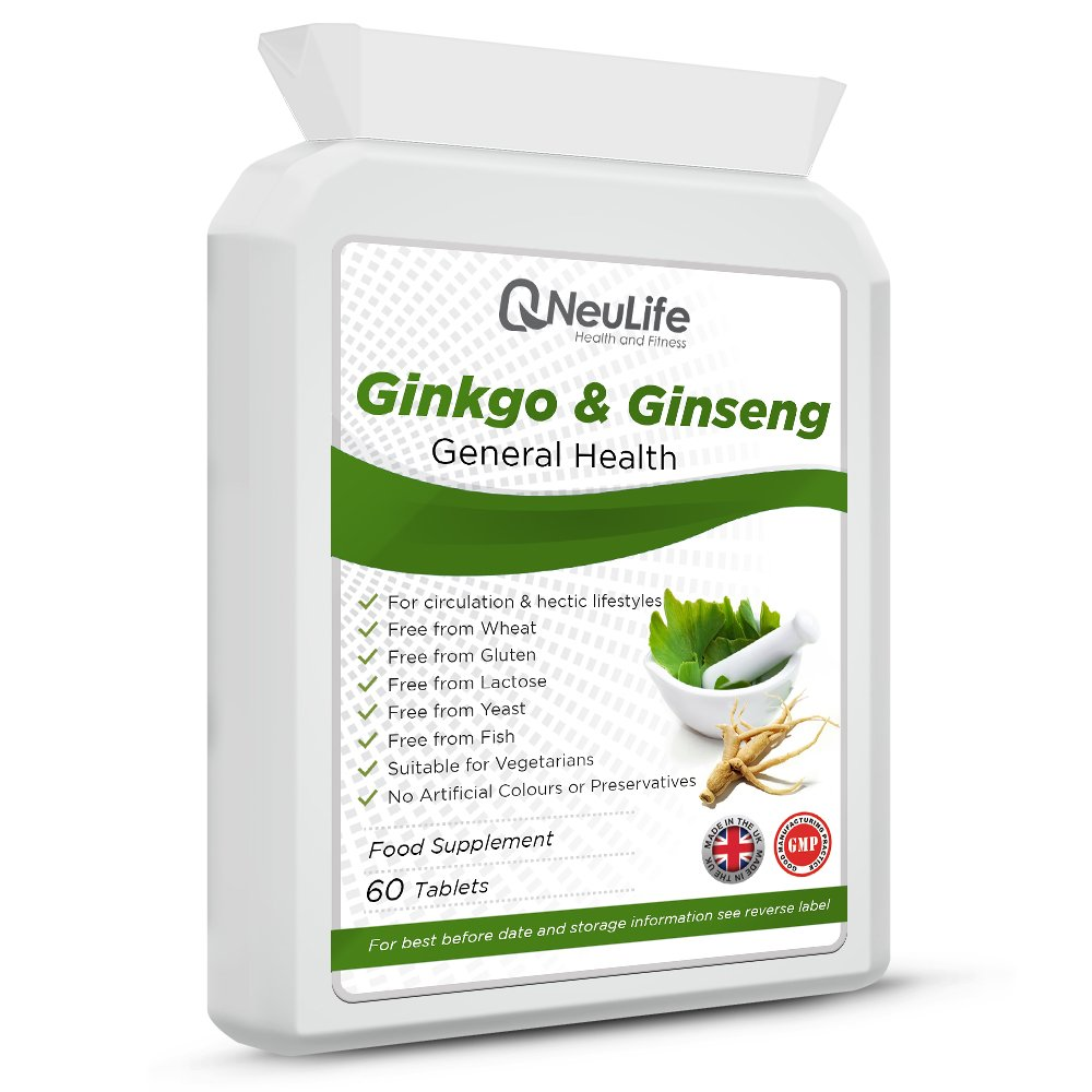 Ginkgo Biloba 3000mg y Ginseng Coreano 1000mg - 60 Comprimidos - Neulife Salud y Fitness