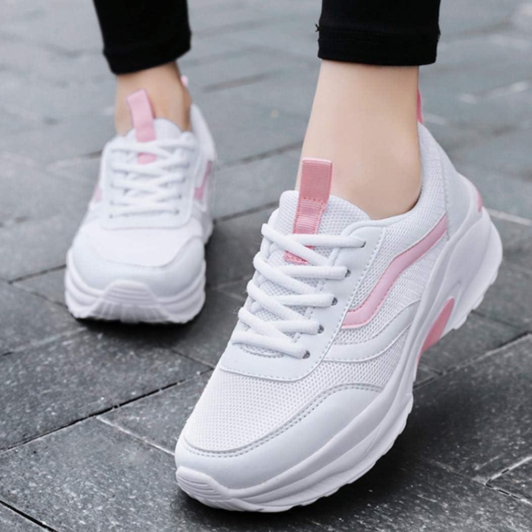 Chaussure de Sport Outdoor pour Femme Course Jogging Running Compensée Antichoc en Textile en Printemps Été Respirant a Lacets Léger Blanc Rose