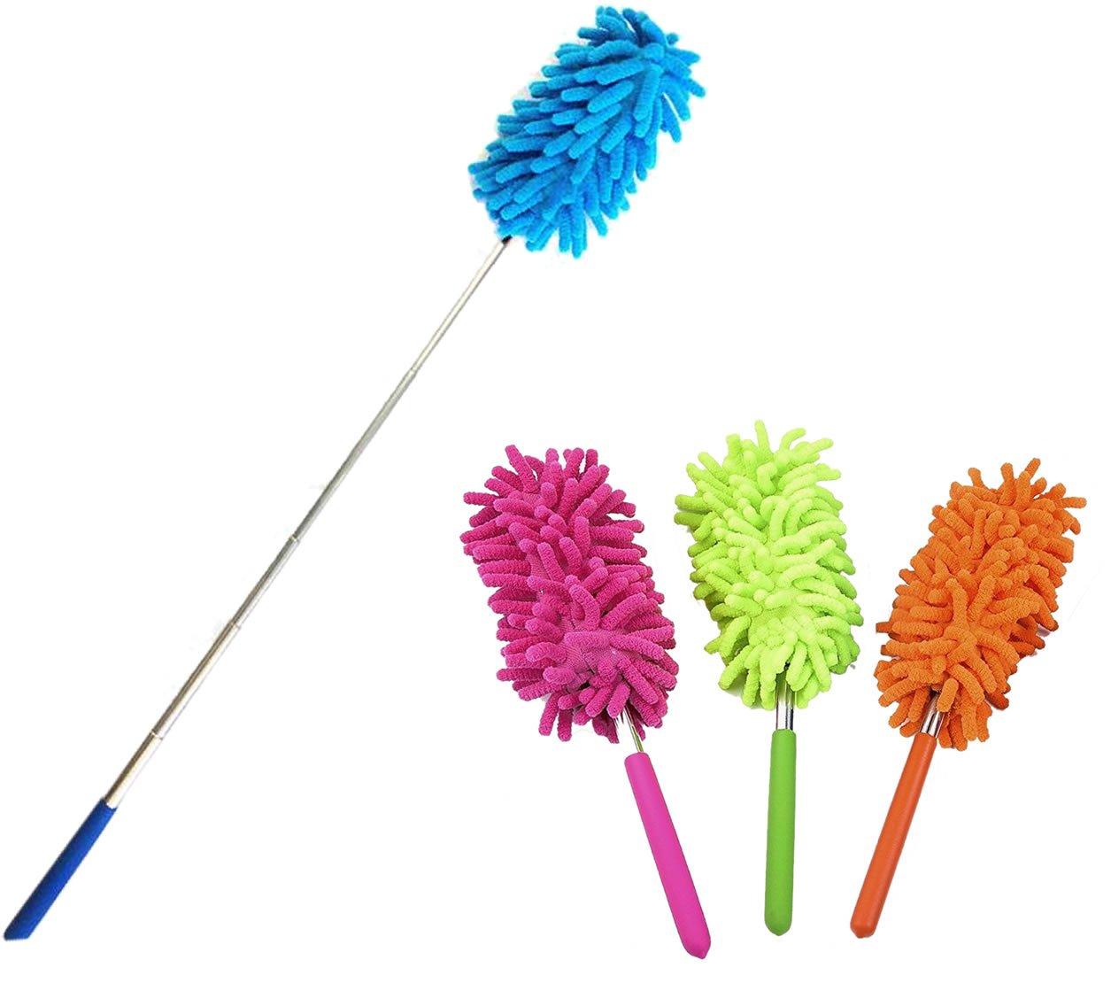 """2-Pk Telescopic Retractable Microfiber Duster, Extend 10"""" to 28"""", Washable Extendable Brush for Home and Office Compact Storage, Colors may vary"""