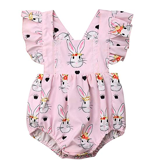 517122176330 Bowanadacles Newborn Baby Girl Easter Romper Bunny Print Ruffle Sleeve  Backless Infant Bodysuit Jumpsuit Summer (