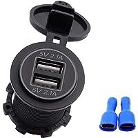 4.2A Puertos duales USB Cargador de Coche portátil Toma de Corriente del Adaptador con luz Adecuada para 12V-24V Motocicletas Auto