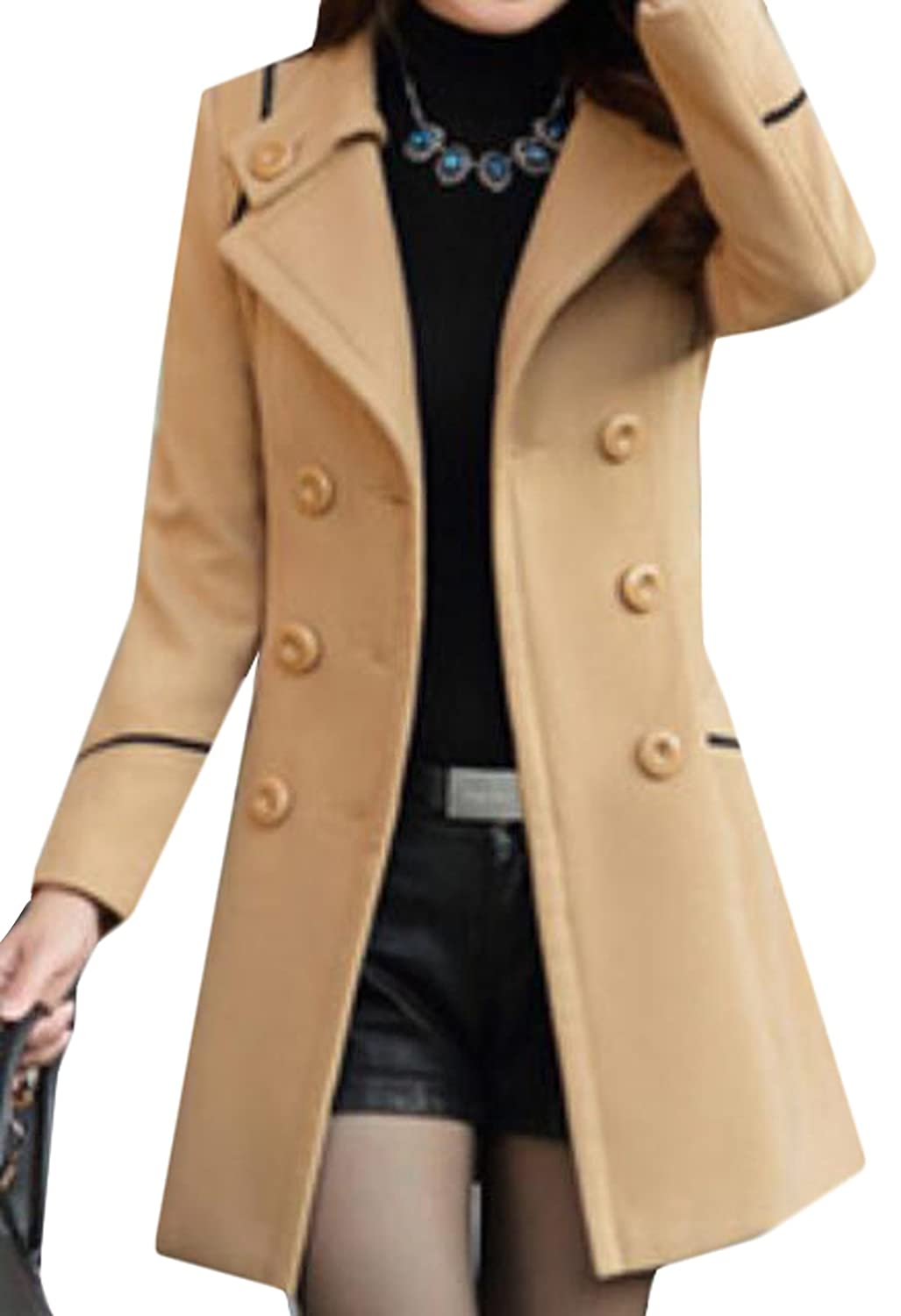 XQS Women Double-Breasted Turn-down Collar Woolen Coat With Belt