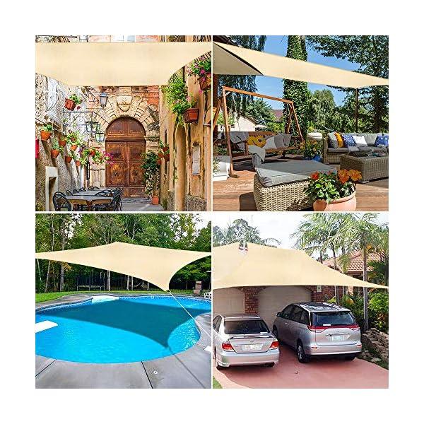 61fzt2GZ80L WOKKOL Sonnensegel, Sonnen Segel, Sonnensegel Wasserdicht, Sonnenschutz Balkon Hergestellt aus hochwertigem Polyester…