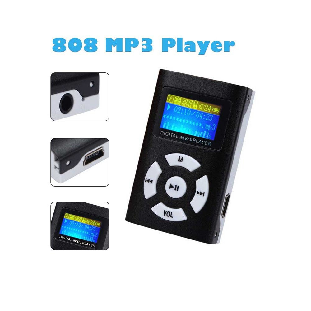 "Internet USB Mini MP3 Player LCD Screen Support 32GB Micro SD TF Card MP3  Player MP4 Player Voice Recorder Portable Speaker Music Player (1.87"" x  1.17"" x ..."
