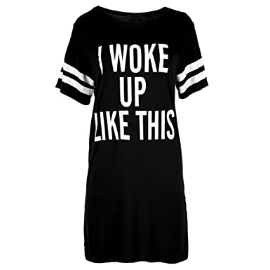 ef0e2075fe Yoyorule Women Oversized Letter Printed T-Shirt Top Baggy Tunic Irregular Night  Dress (S