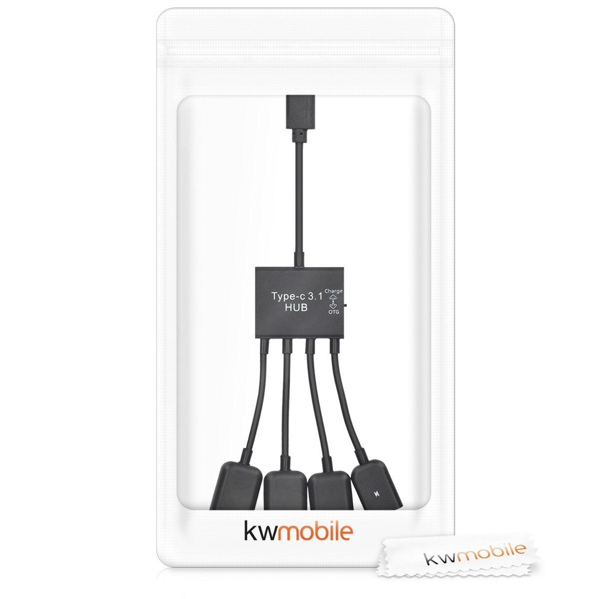 kwmobile Adattatore 4in1 USB C per Smartphone e Tablet Nero Distributore Micro-USB 4 Porte OTG Hub multiporta USB 3.1 Type C per Cellulare e Tab Pad