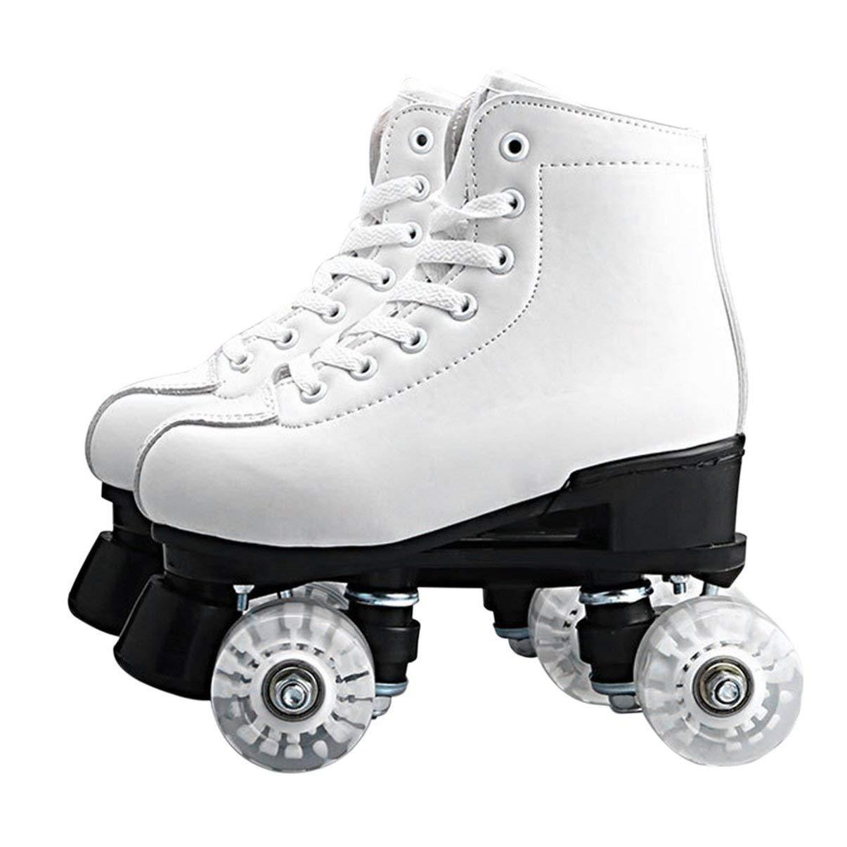 JullyeleDEgant Einfarbige Doppel-Rollschuhe Zwei-Line Rollschuh 4 Rollen Lace-up-Skate-Schuhe mit bunten LED-Licht