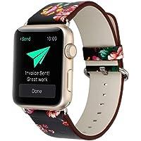 Vman Correa para Apple Watch, diseño Floral, Correa de Piel Impresa Floral de 42 mm, para Apple Watch, diseño de Flores, Reloj de Pulsera (Negro + Rojo Flor, 38 mm)