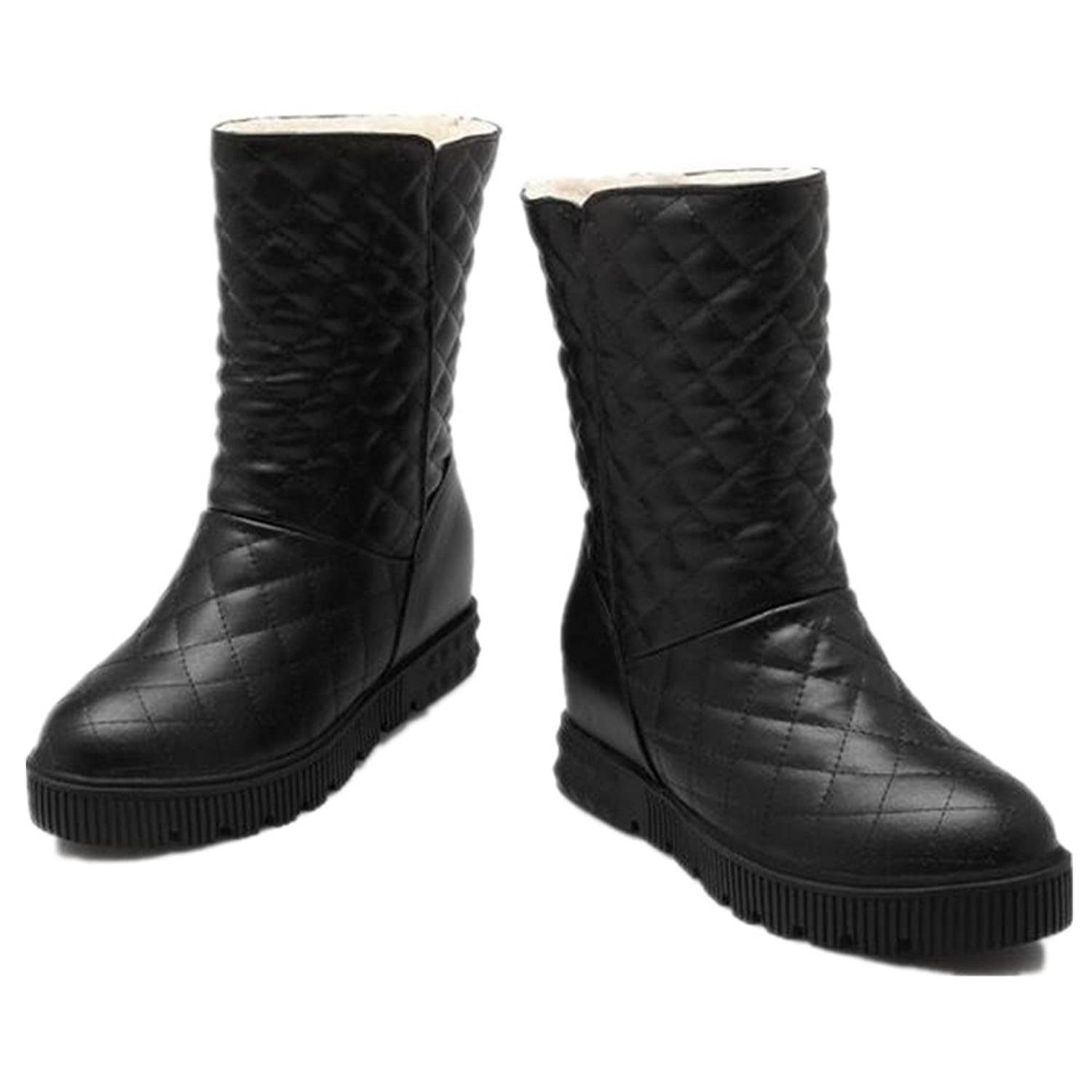 Women's Mid Calf Slip on Snow Boots PU Leather Winter Snow Waterproof Thick Faux Fur Lined Warm Rain Skiing Boot