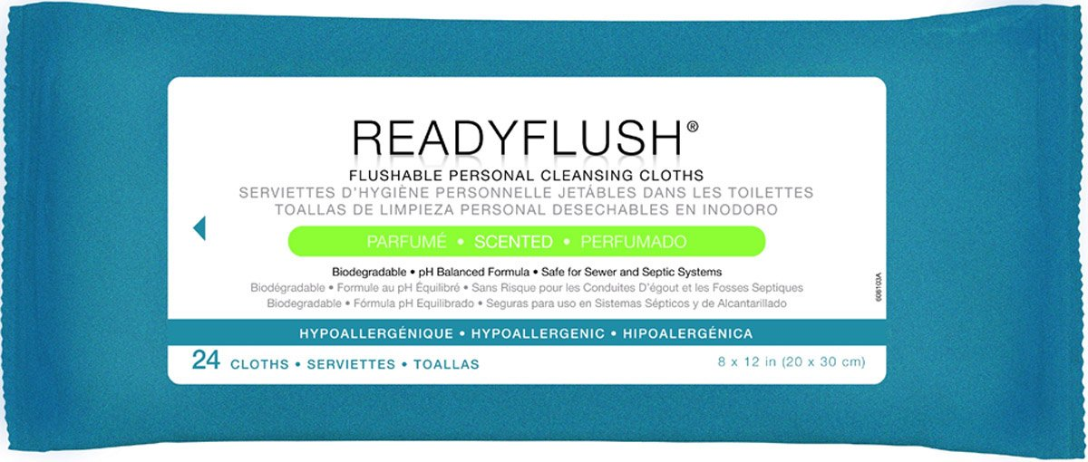 3 Pack Medline ReadyFlush X-Large Premoistened Personal Hygiene Flushable Wipes,8 x 12