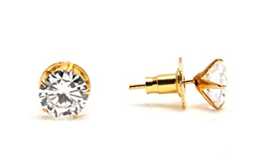 024a870cf TARUNA BIYANI CZ American Diamond Solitaire Studs Pair of Stone Earrings  with Gold Plated Prong Setting