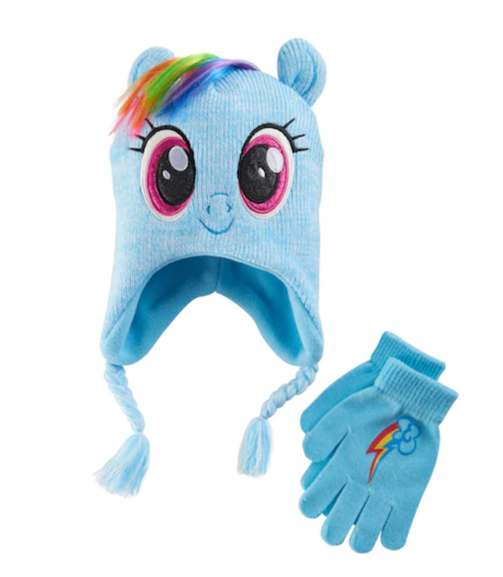 My Little Pony Rainbow Dash Girls Winter Beanie Hat and Gloves Set by ABG Accessories